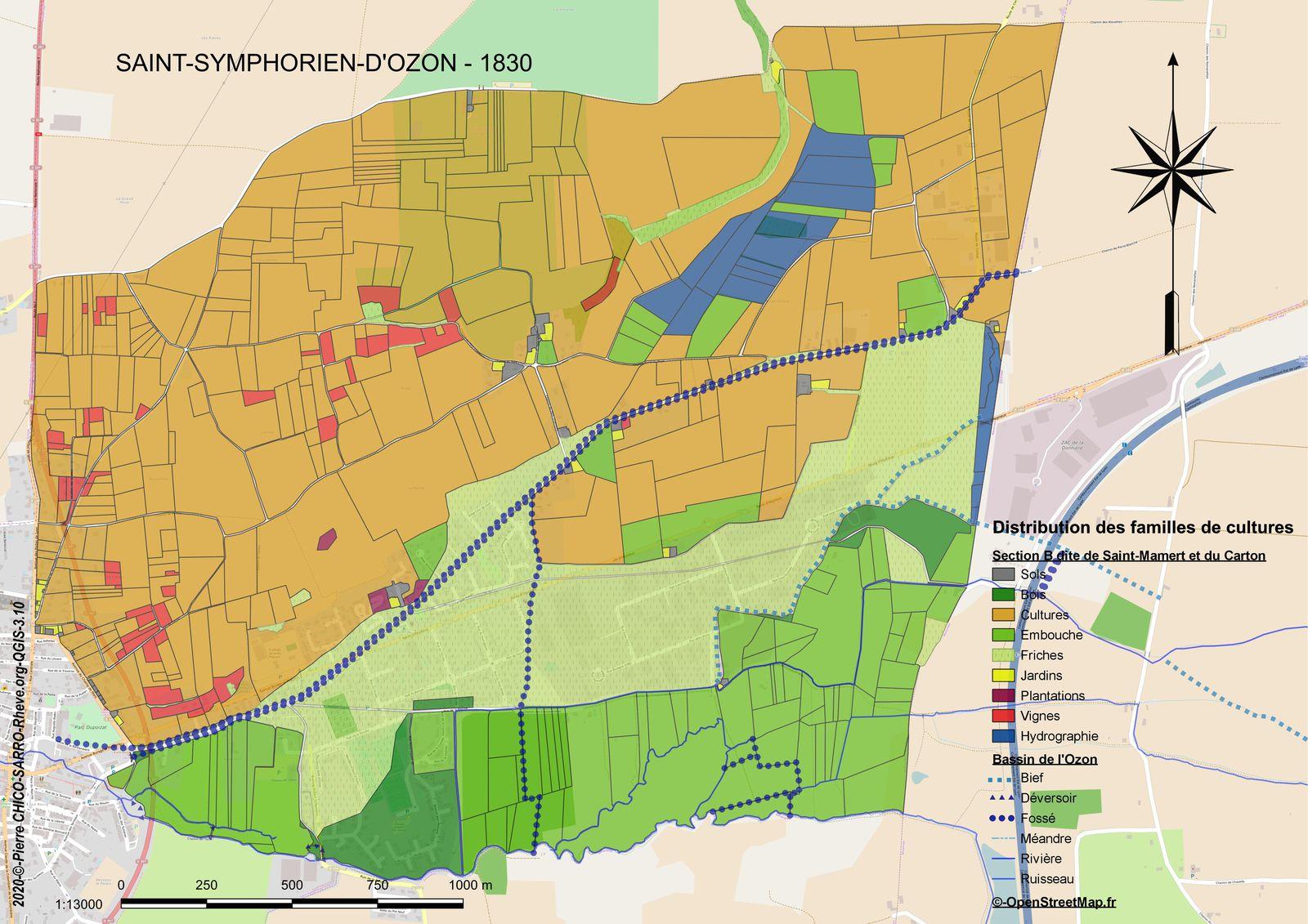 Distribution des familles de cultures dans la section B dite de Saint-Mamert et du Carton à Saint-Symphorien-d'Ozon en 1830
