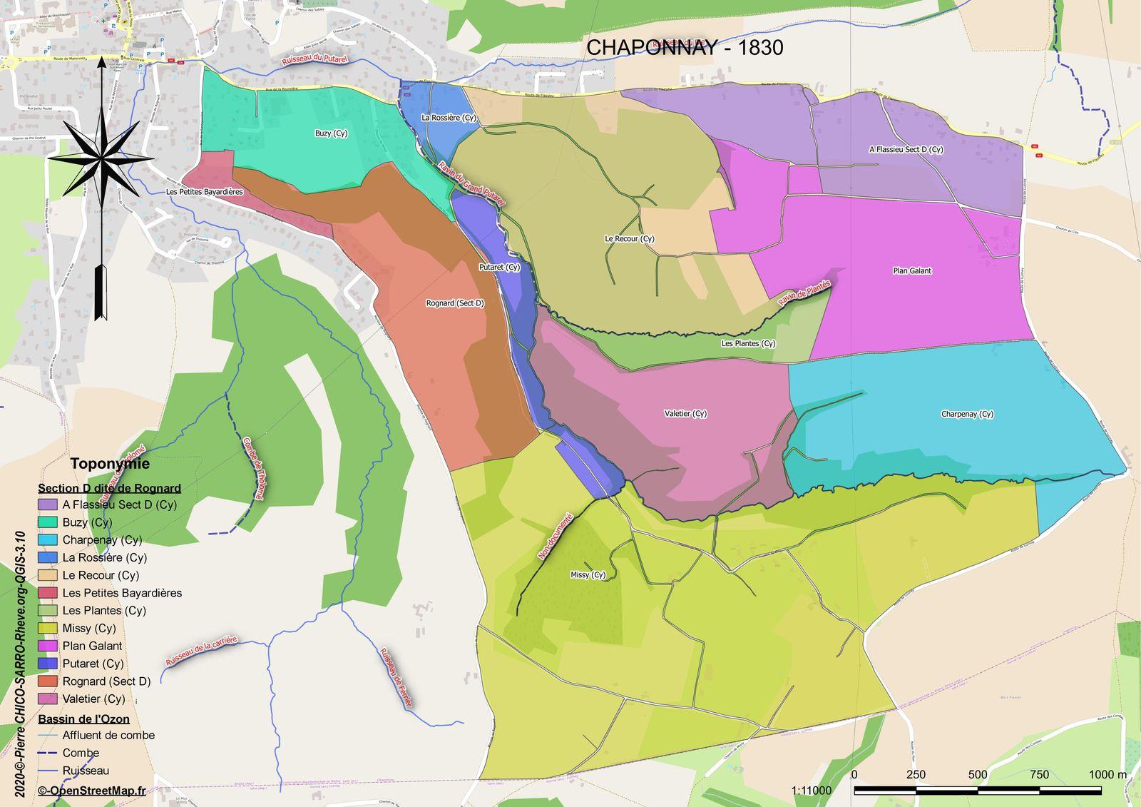Distribution des toponymes de la section D dite de Rognard à Chaponnay en 1830