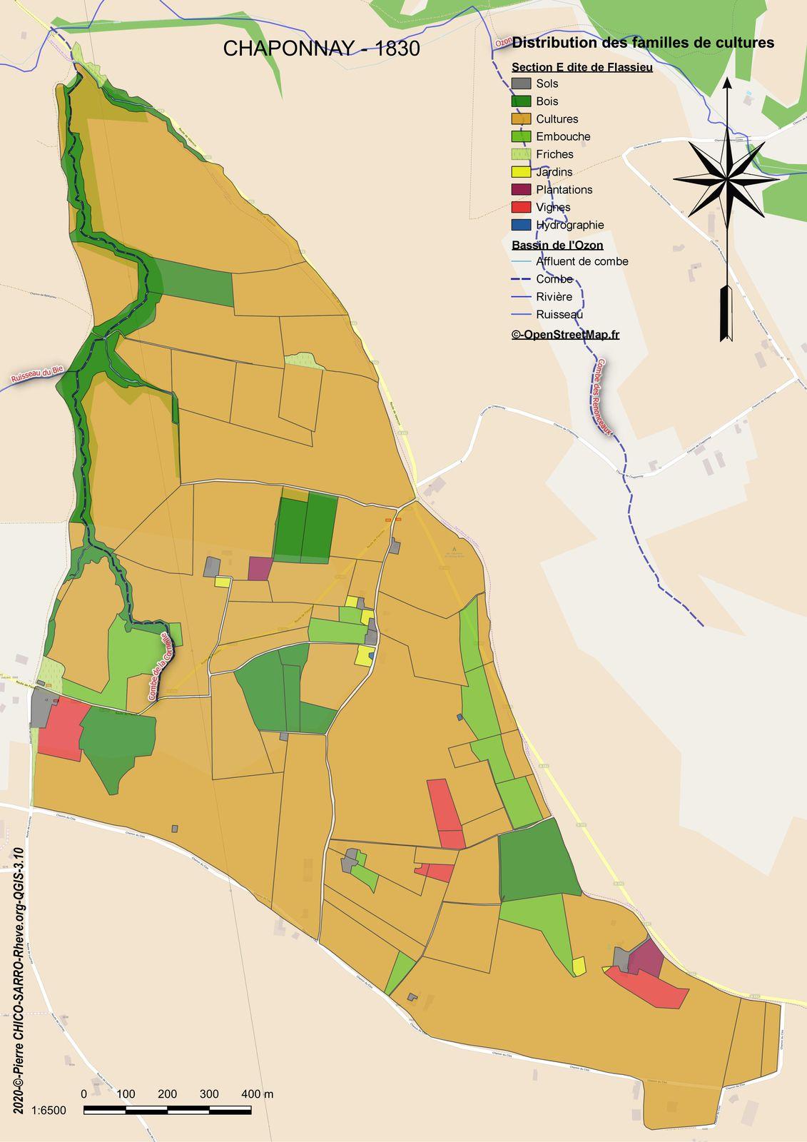 Distribution des familles de cultures dans la section E dite de Flassieu à Chaponnay en 1830