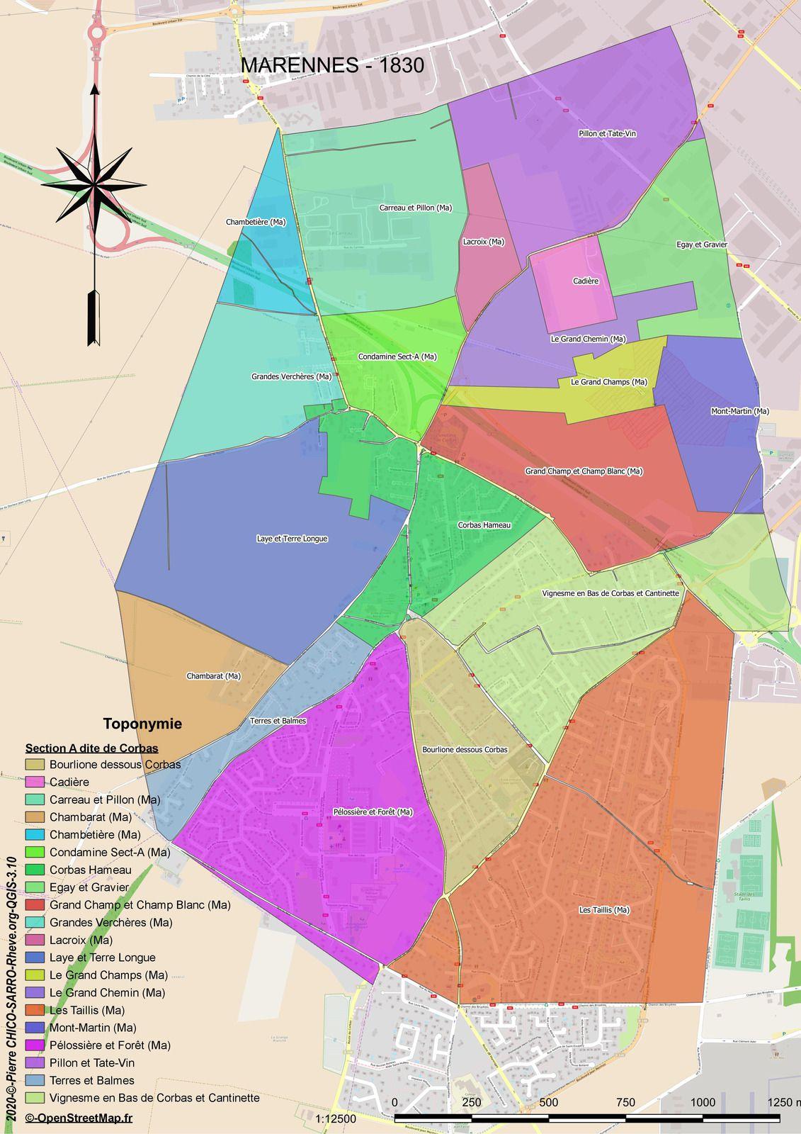 Distribution des toponymes de la Section A dite de Corbas à Marennes en 1830