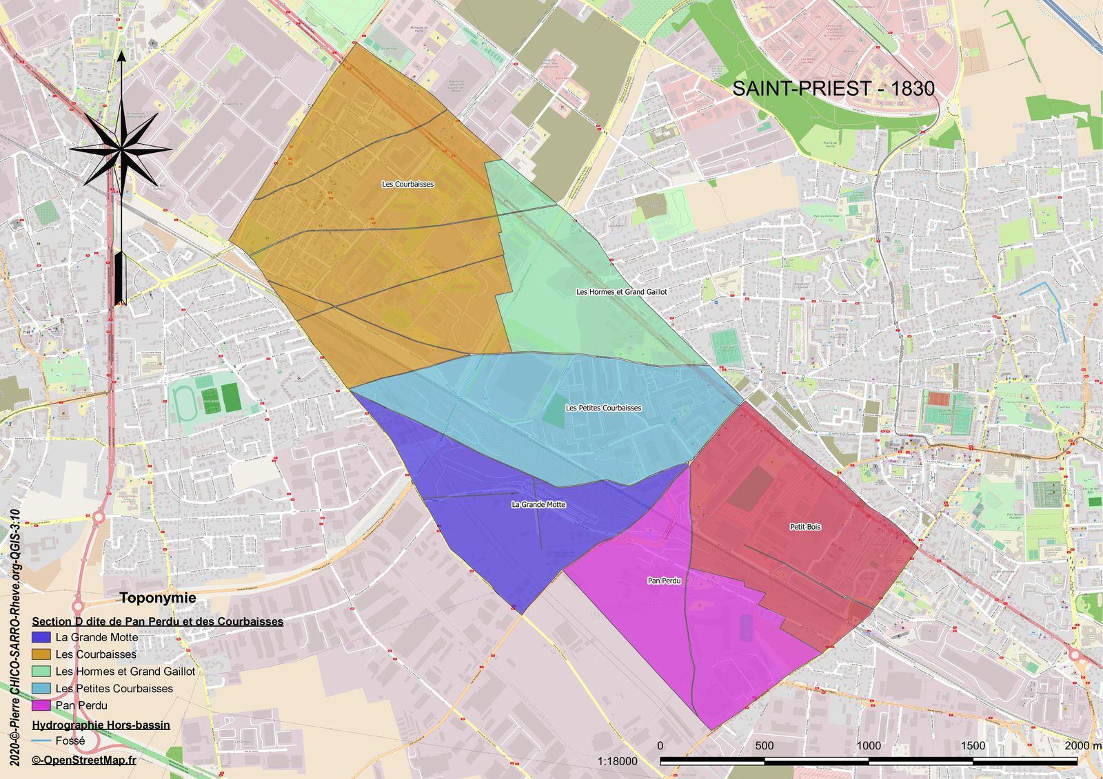 Distribution des toponymes dans la Section D dite de Pan Perdu et des Courbaisses à Saint-Priest en 1830