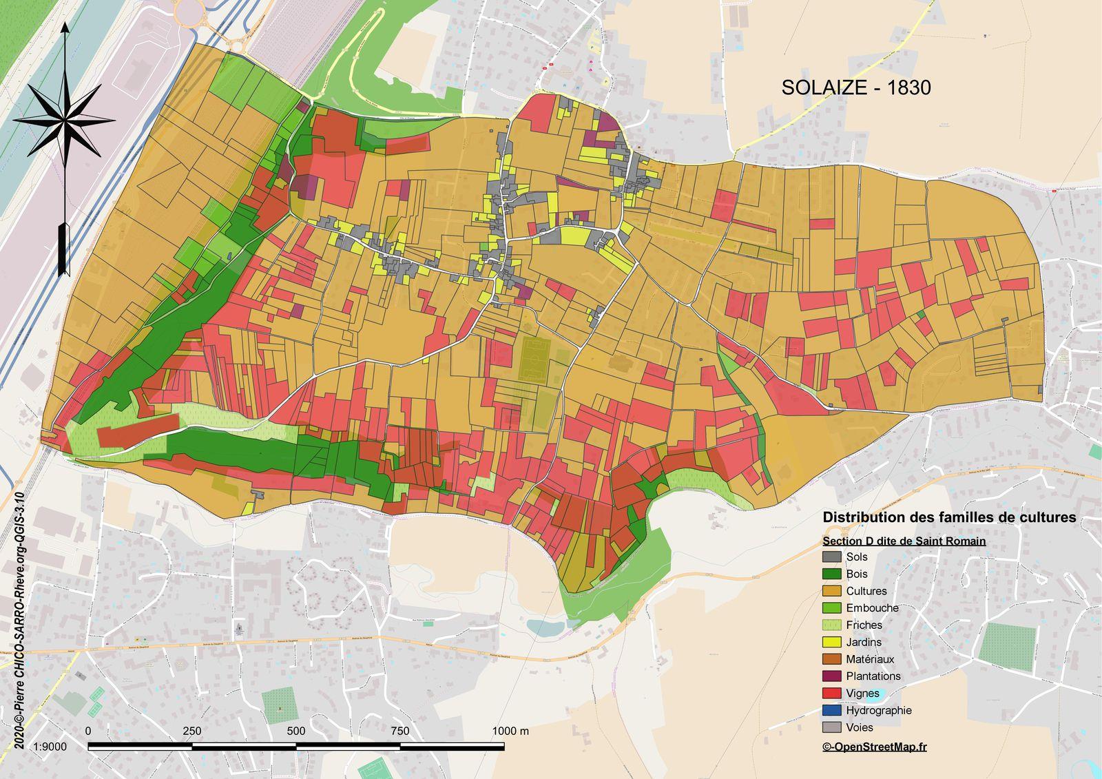 Distribution des familles de cultures dans la section D dite de Saint-Romain à Solaize en 1830