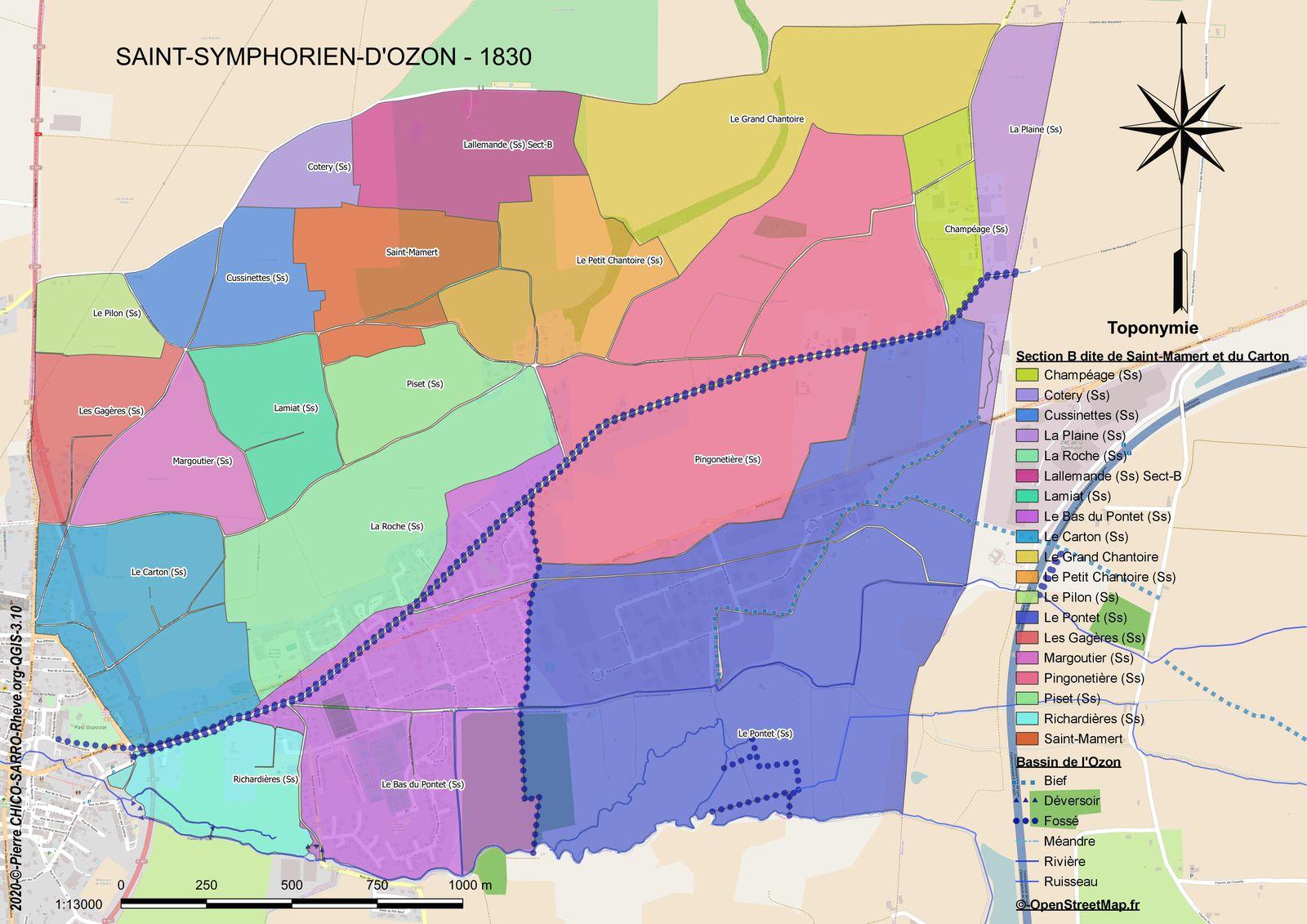 Distribution des toponymes de la section B dite de Saint-Mamert et du Carton à Saint-Symphorien-d'Ozon en 1830