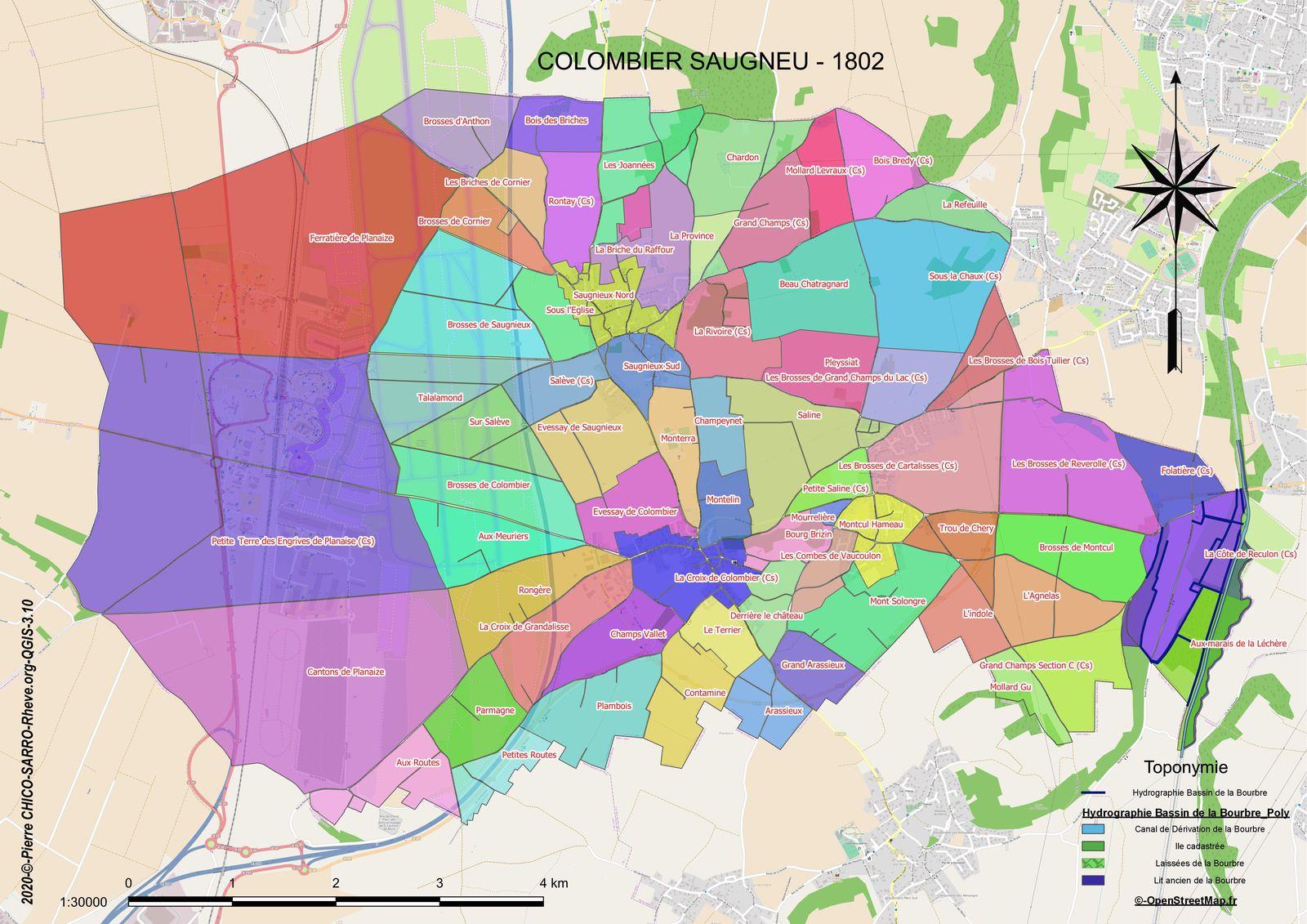 Distribution des toponymes de 1802 dans la commune de COLOMBIER-SAUGNEU en 1803