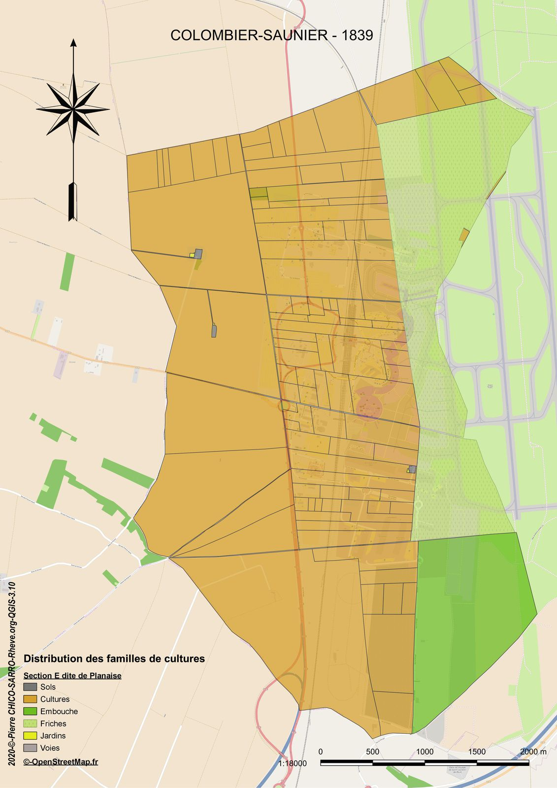 Distribution des familles de cultures dans la section E dite de Planaise à COLOMBIER-SAUGNEU en 1839 à COLOMBIER-SAUGNEU en 1839