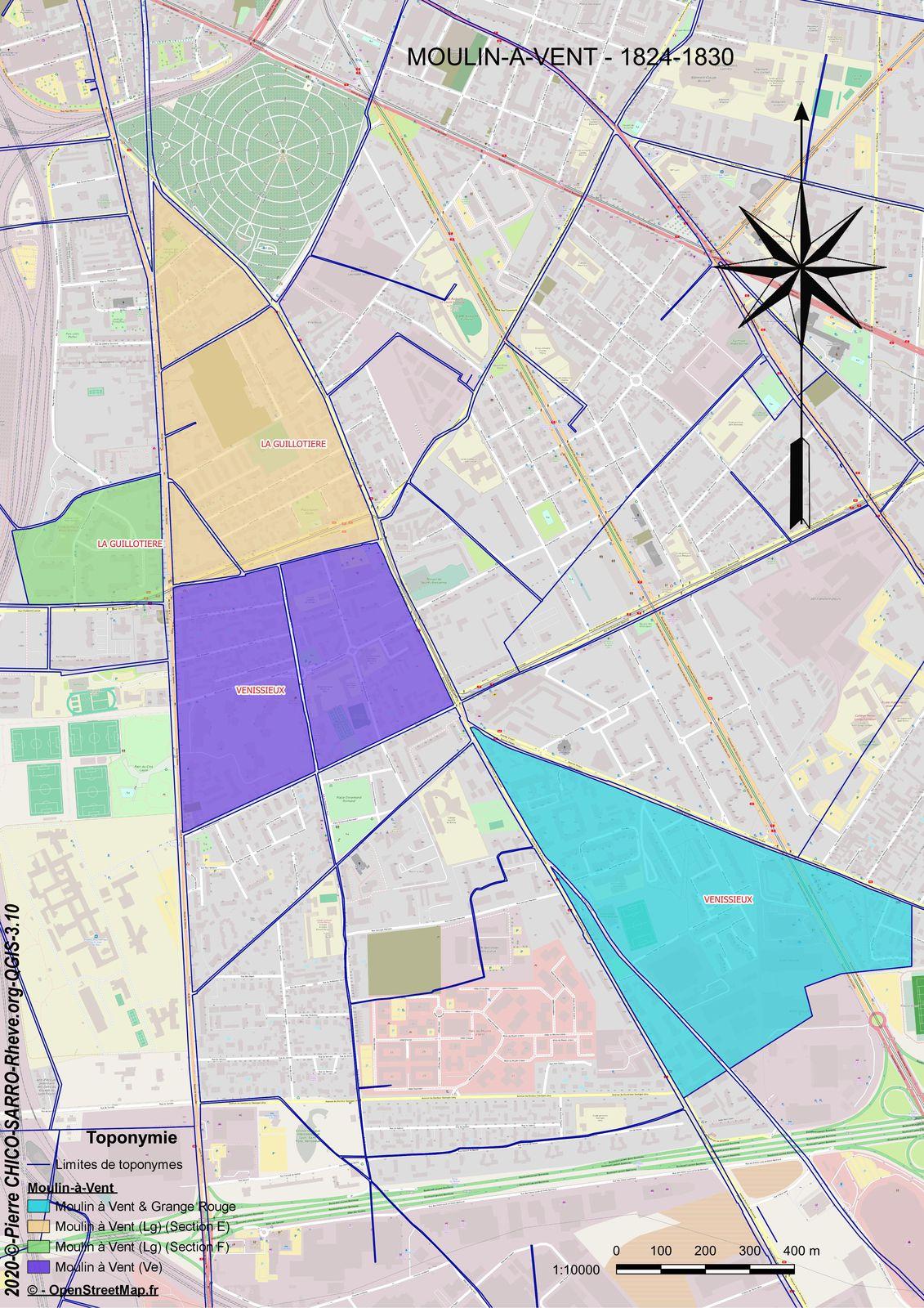 """Agglutination du toponyme """" Moulin à Vent"""" à cheval entre la commune de Vénissieux et de La Guillotière ainsi qu'à ,l'intérieur des sections de ces communess"""