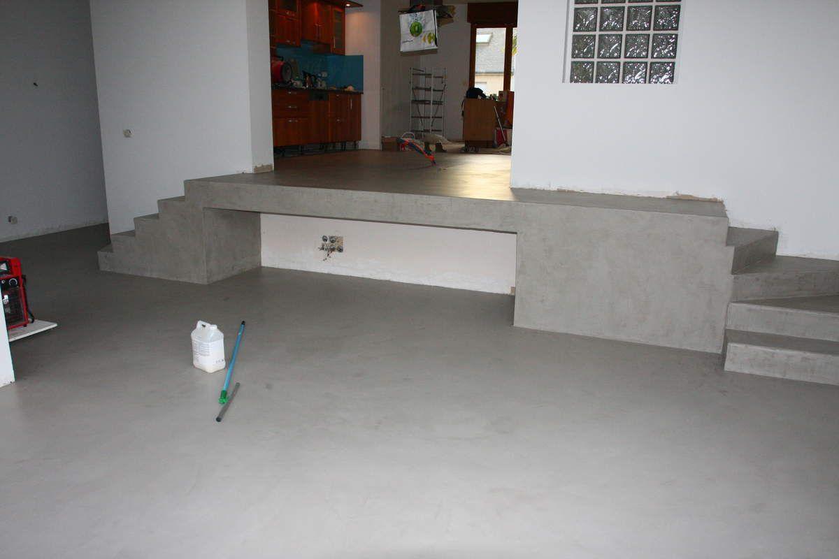 beton cire sur sol carrele interieur chaux romain bigot. Black Bedroom Furniture Sets. Home Design Ideas