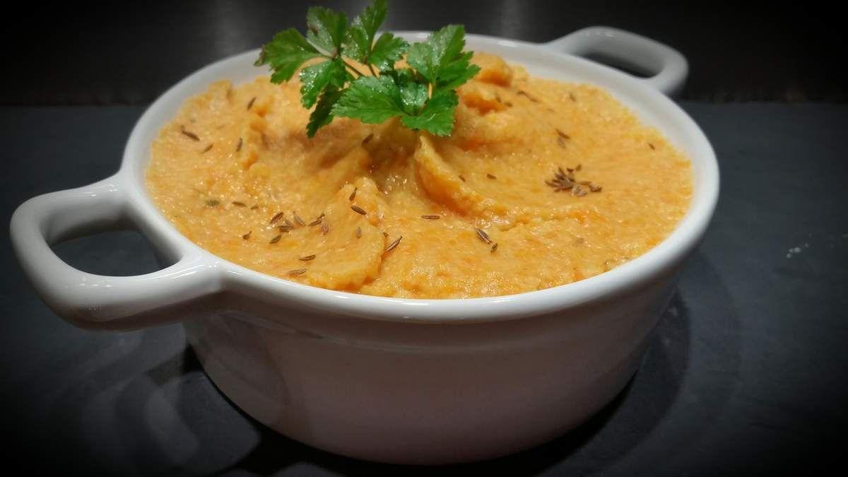 Purée de carottes et lentilles corail au cumin