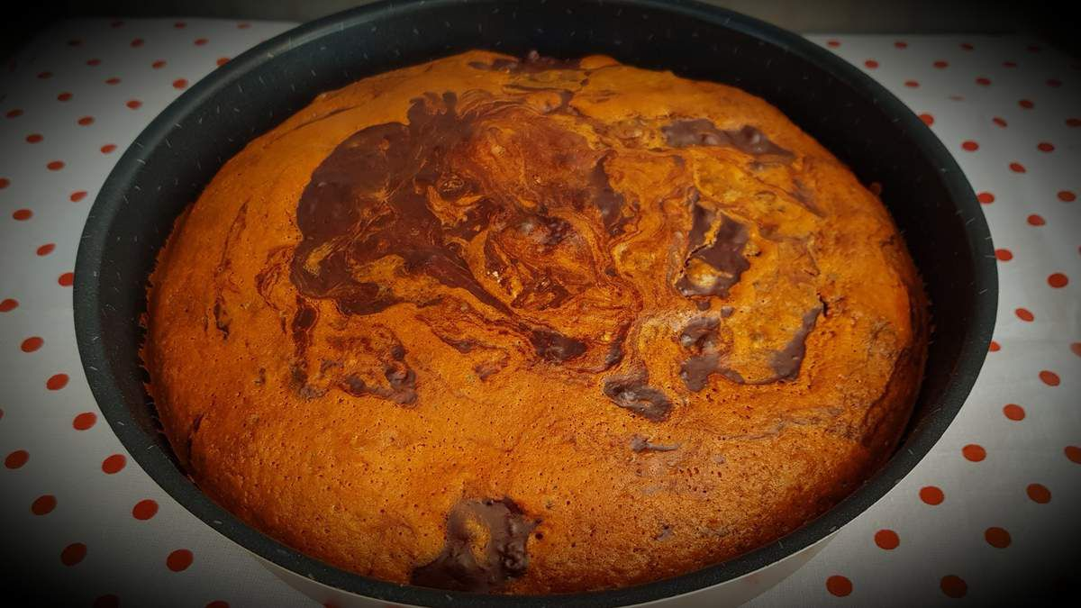 Gâteau marbré chocolat amande
