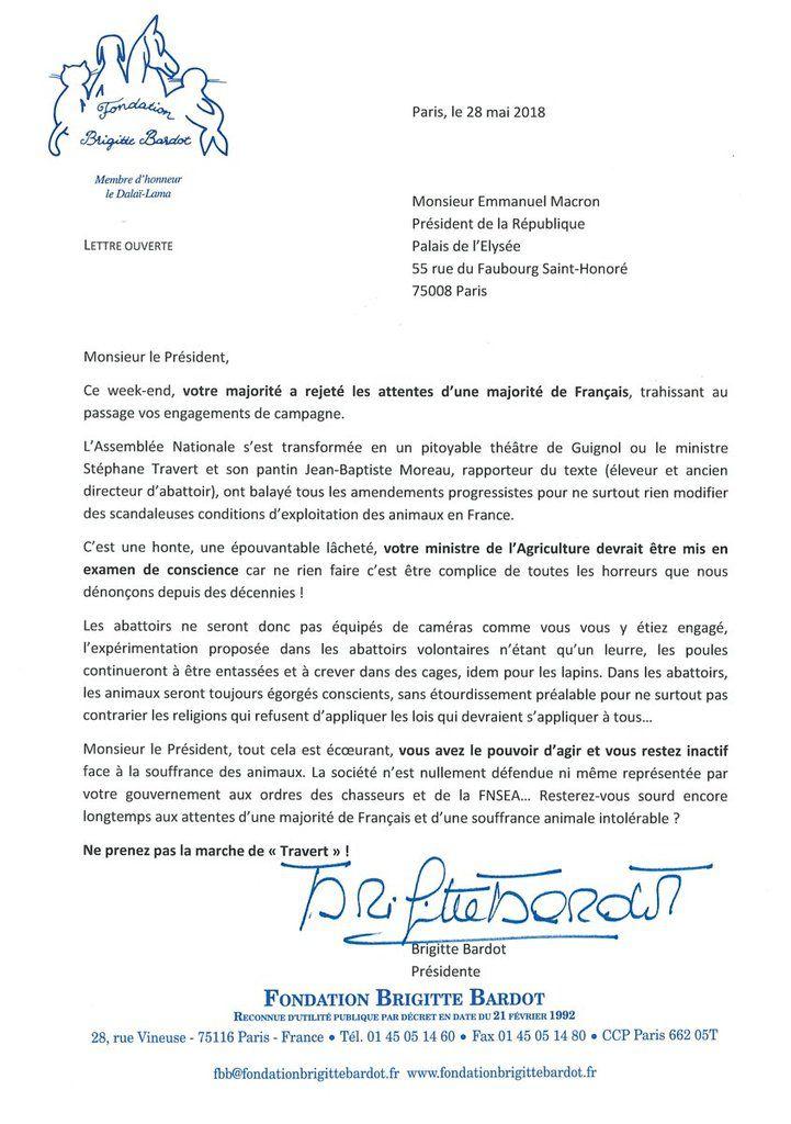 Brigitte Bardot : Monsieur Macron, tout cela est écœurant, vous avez le pouvoir d'agir et vous restez inactif face à la souffrance des animaux