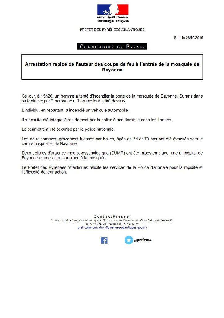 Coups de feu devant la mosquée de Bayonne : deux blessés, le tireur présumé interpellé