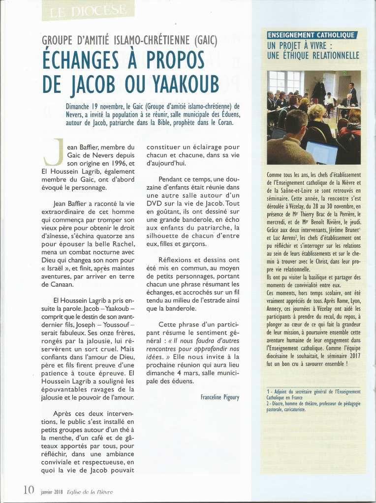 Retour sur la SERIC 2017 à NEVERS (58) : le 19 novembre 2017, échanges autour de Jacob ou Yaakoub, patriarche dans la Bible et prophète dans le Coran,