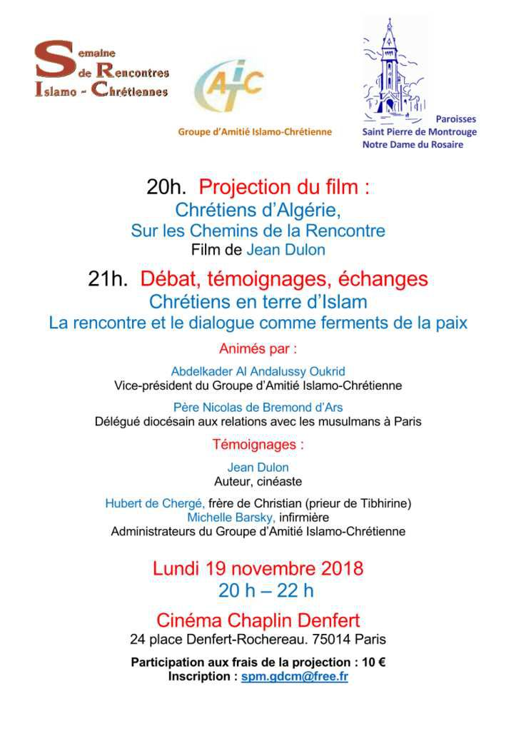 """SERIC 2018 : Paris - film de Jean Dulon : """"Chrétiens d'Algérie, sur les Chemins de la Rencontre"""" suivi d'un débat et de témoignages"""
