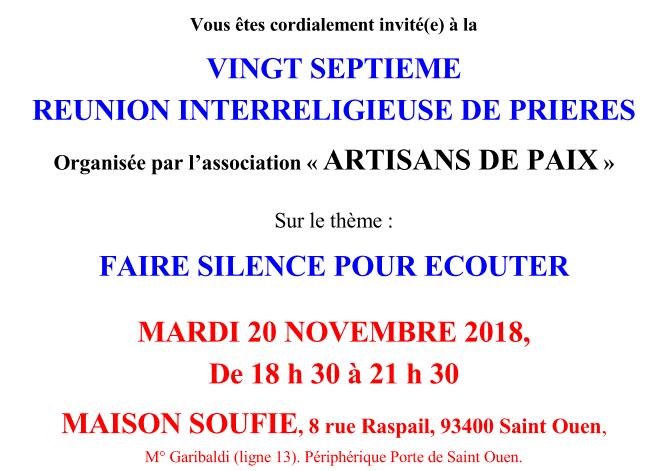 SERIC 2018 : SAINT-OUEN - « Réunion interreligieuse de prières Artisans de Paix » le 20 novembre 2018