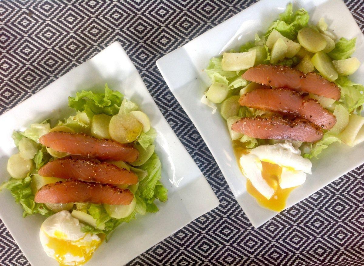 Salade de topinambours au saumon fumé