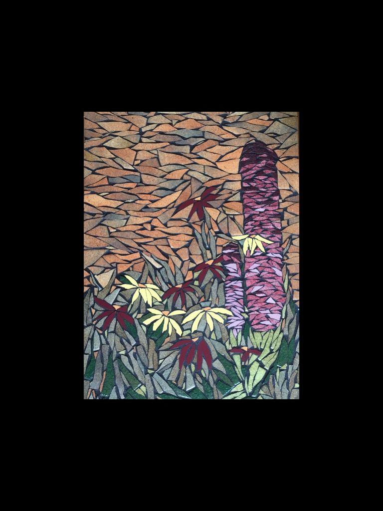 30x45 cm. Mosaïque en émaux de Briare et faïence. Fleurs dans le crepuscule, ciel aux tons chauds.