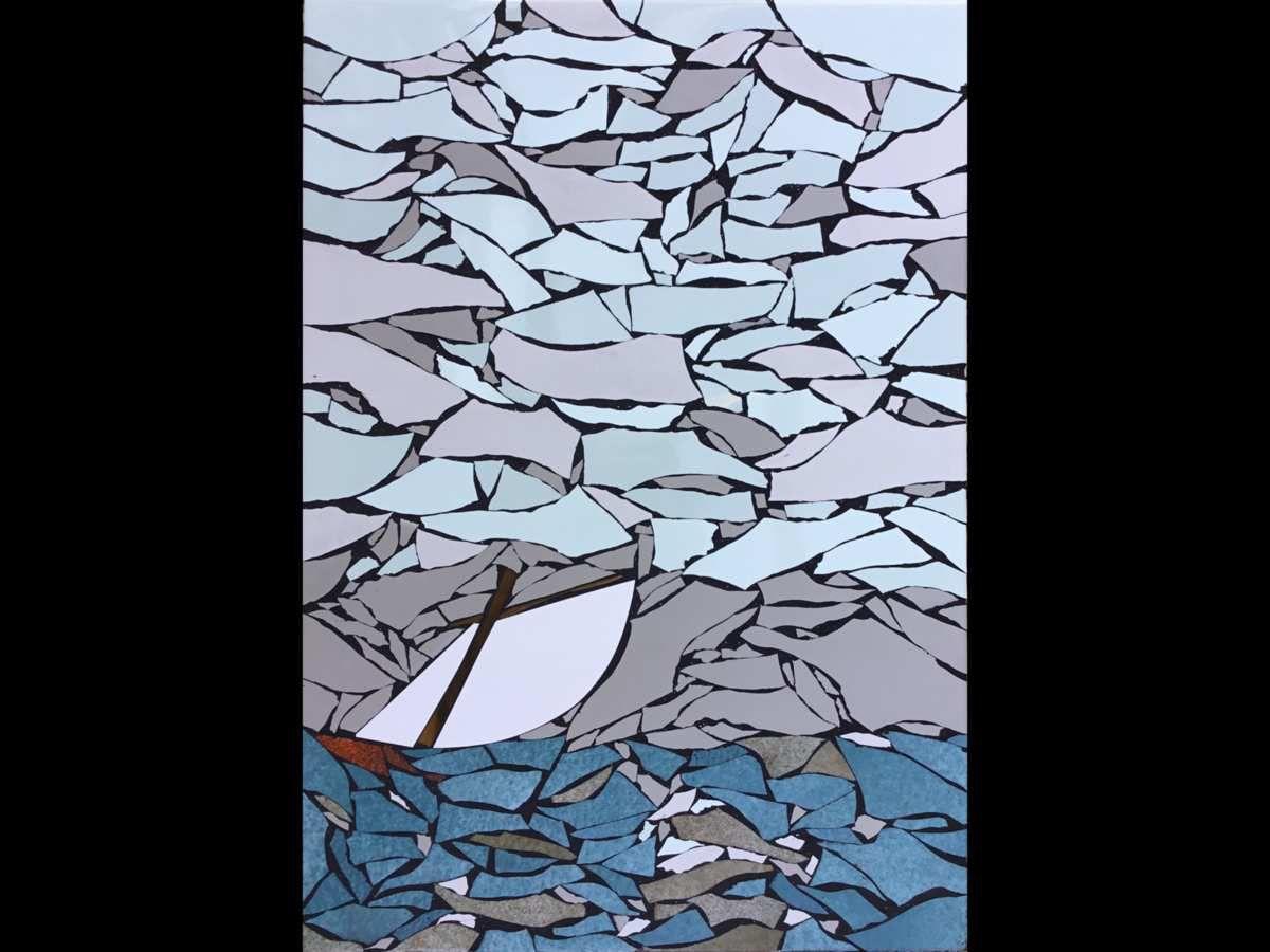 31x45cm. Tableau mosaïque marine, bateau de pêche au large. Faïence, émaux de Briare et verre.