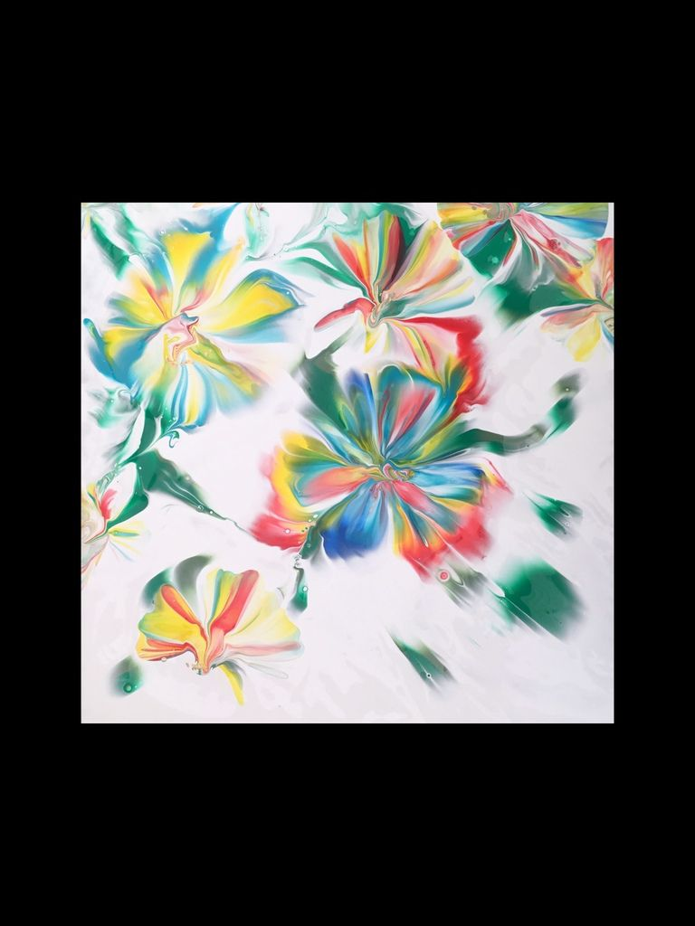 Peinture acrylique. Œuvre réalisée sur grand carreau céramique 30x30 cm.