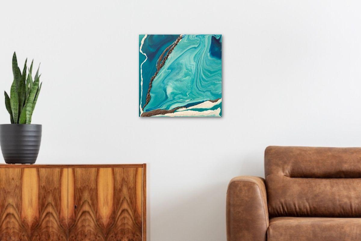 Peinture acrylique sur toile. 50x50 cm. Empâtements et grains fins et moyens blancs et châtaigne dorée.