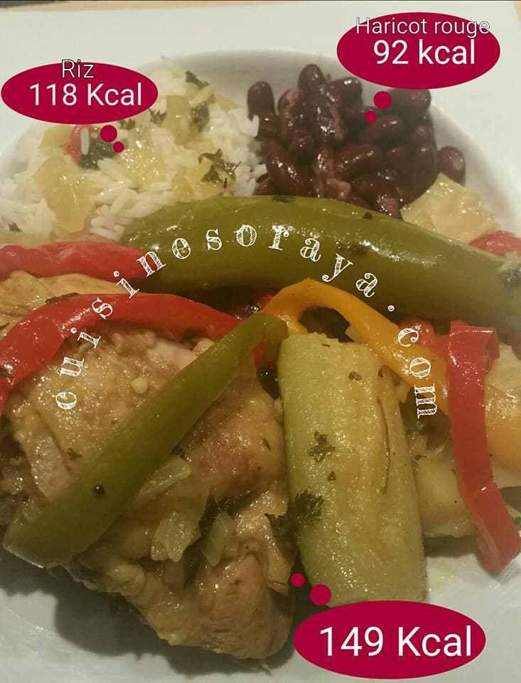 118 Kcal pour 100g de riz / 92 Kcal pour 100g d'haricot rouge / 149 Kcal pour 100g de colombo poulet