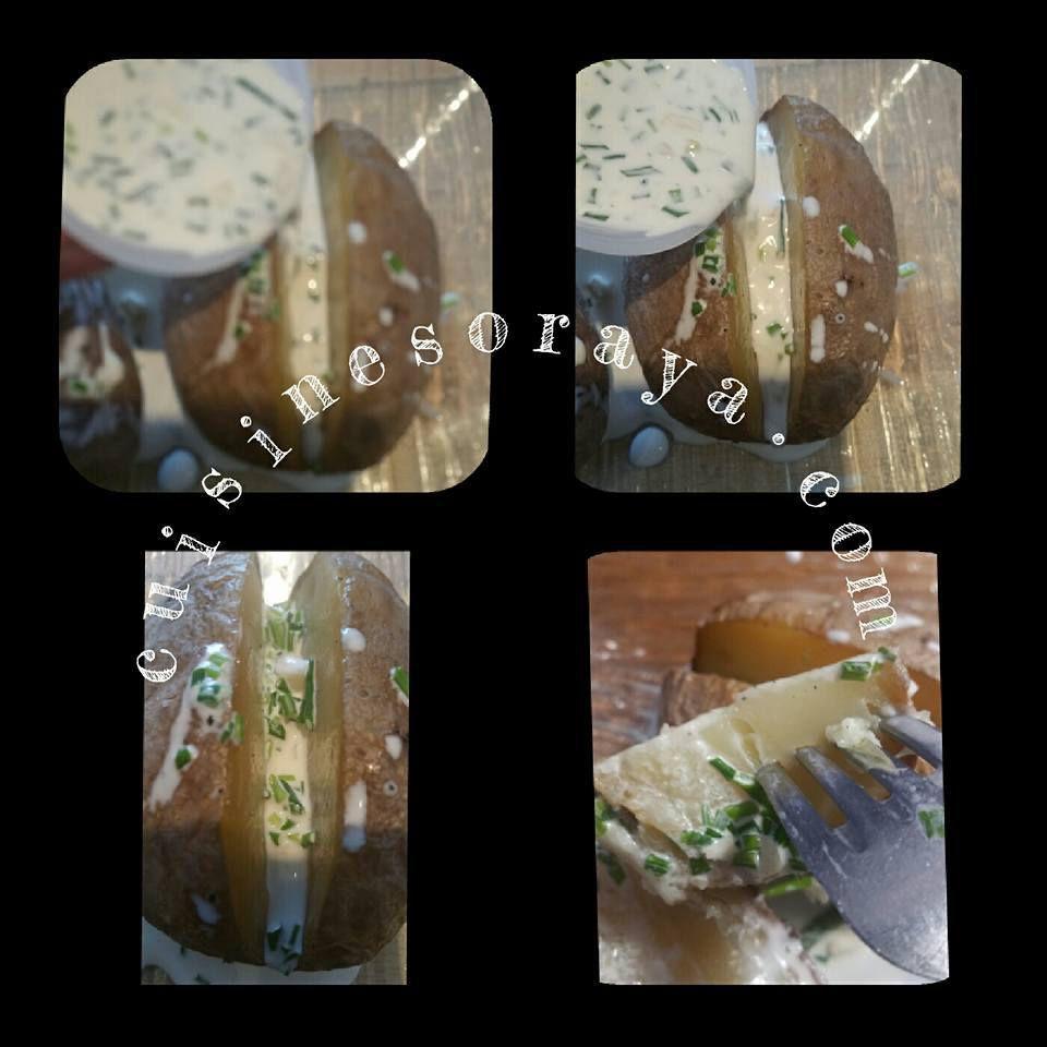 Pommes de terre au four et crème ciboulette