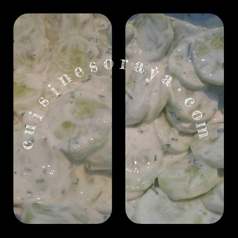 Concombre au fromage blanc et ciboulette