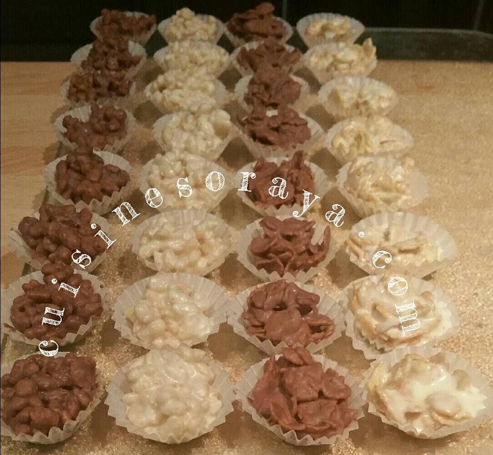 Mini-bouchées chocolat riz soufflé et Roses des sables