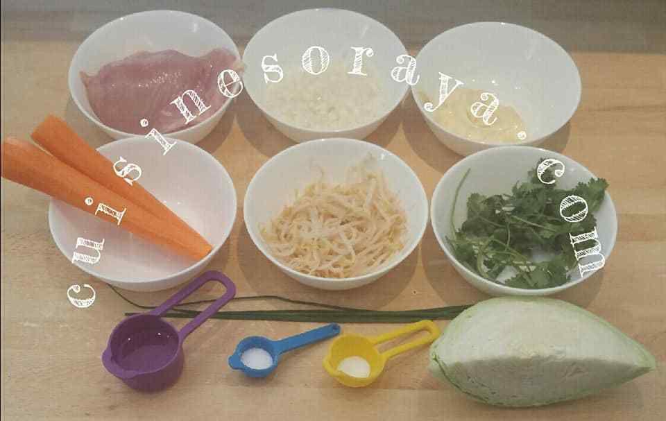 Salade de chou et de poulet.