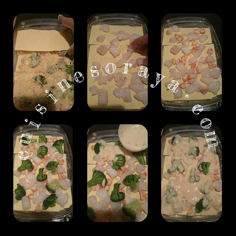 Lasagne au cabillaud, au brocoli et aux crevettes