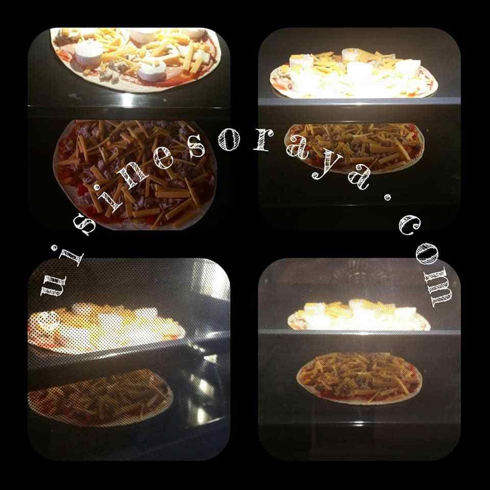Pizza wrap thon poivrons et aux 3 fromages.
