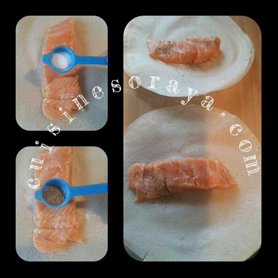 Saumon épinards en feuille de brick