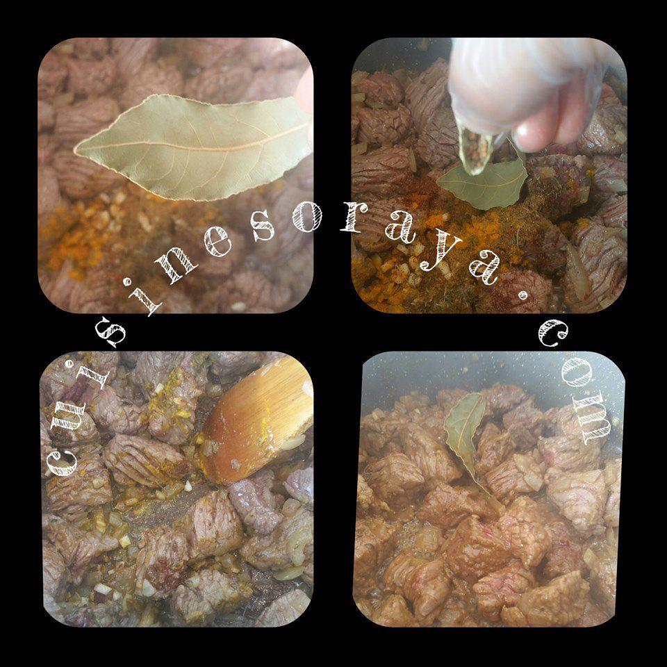 Mijoté boeuf, courgettes, aubergines et aux amandes