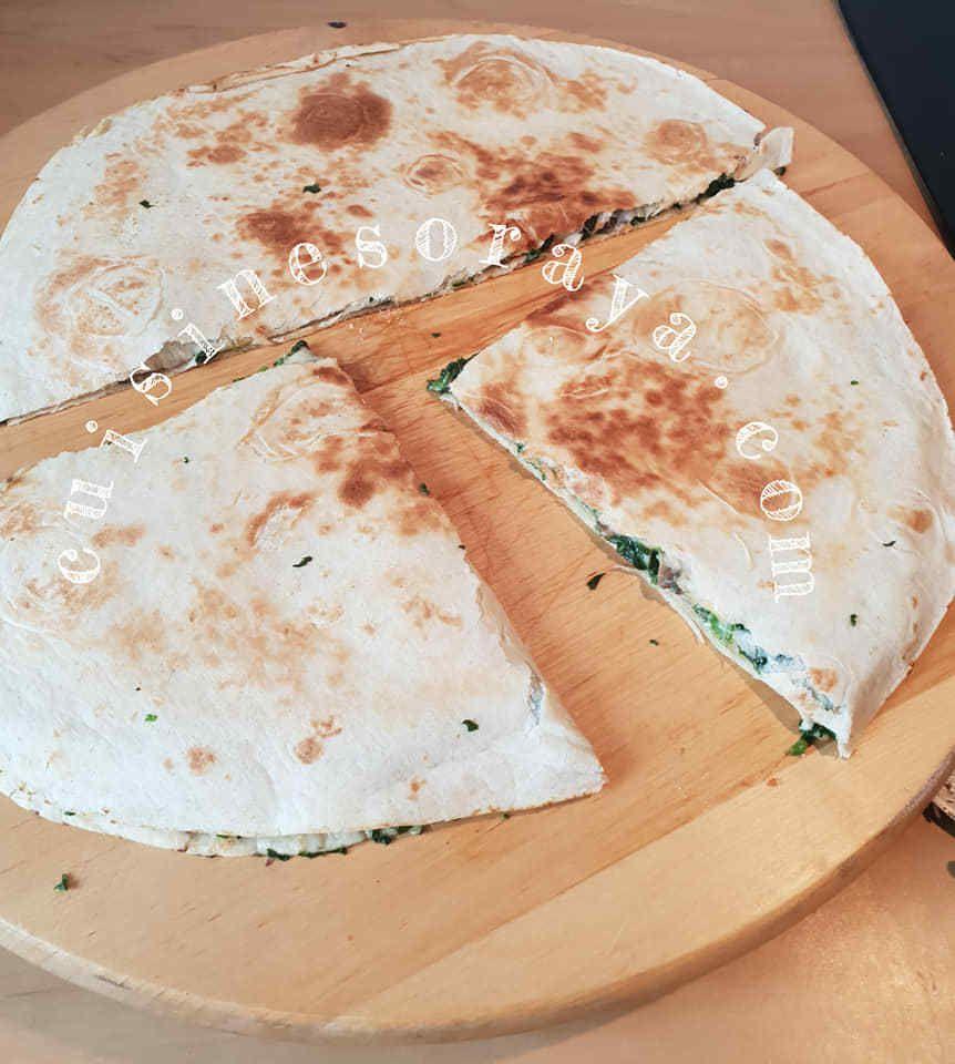 Galette aux épinards, champignons et fromage