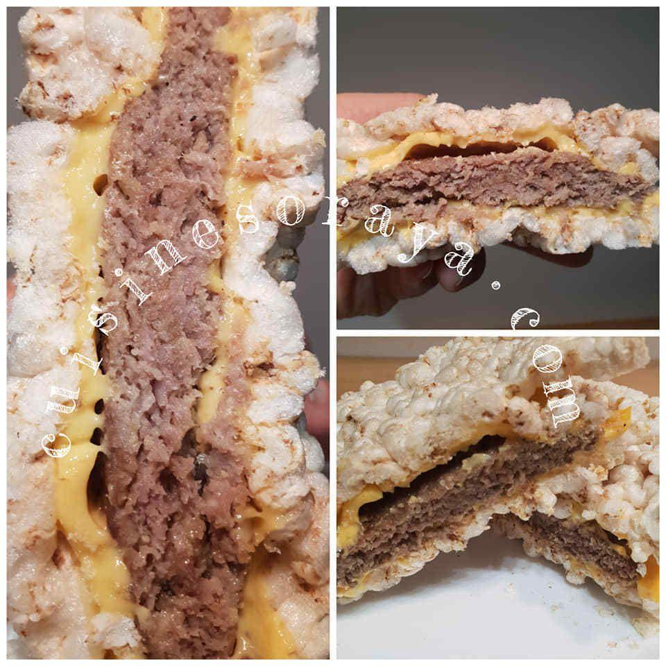 Burger en galette de riz de saumon ou de viande