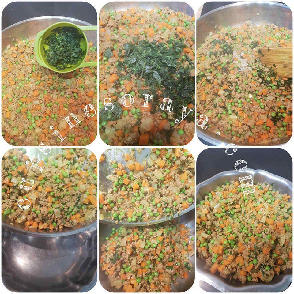 Samoussa à la viande et ses petits légumes