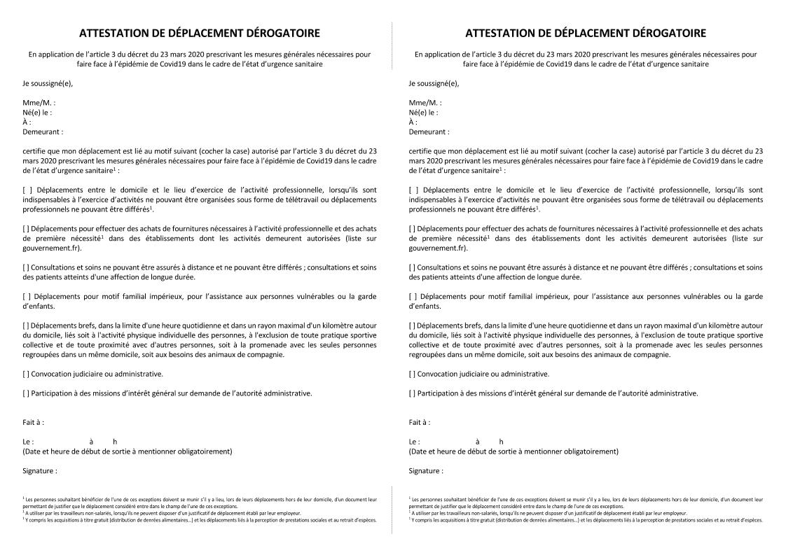 COVID-19 Attestation de déplacement dérogatoire en format réduit A5 (2 par page A4)