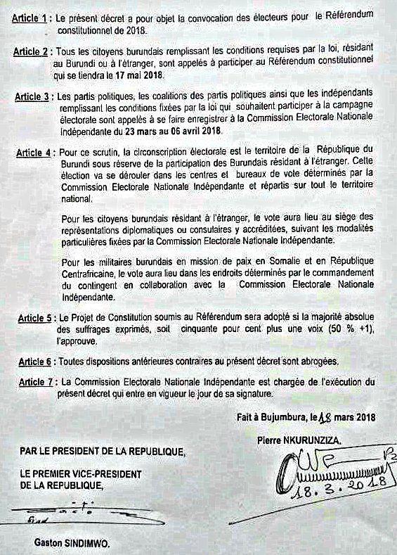 Le Referendum Constitutionnel fixé pour le 17 mai 2018 (décret présidentiel)