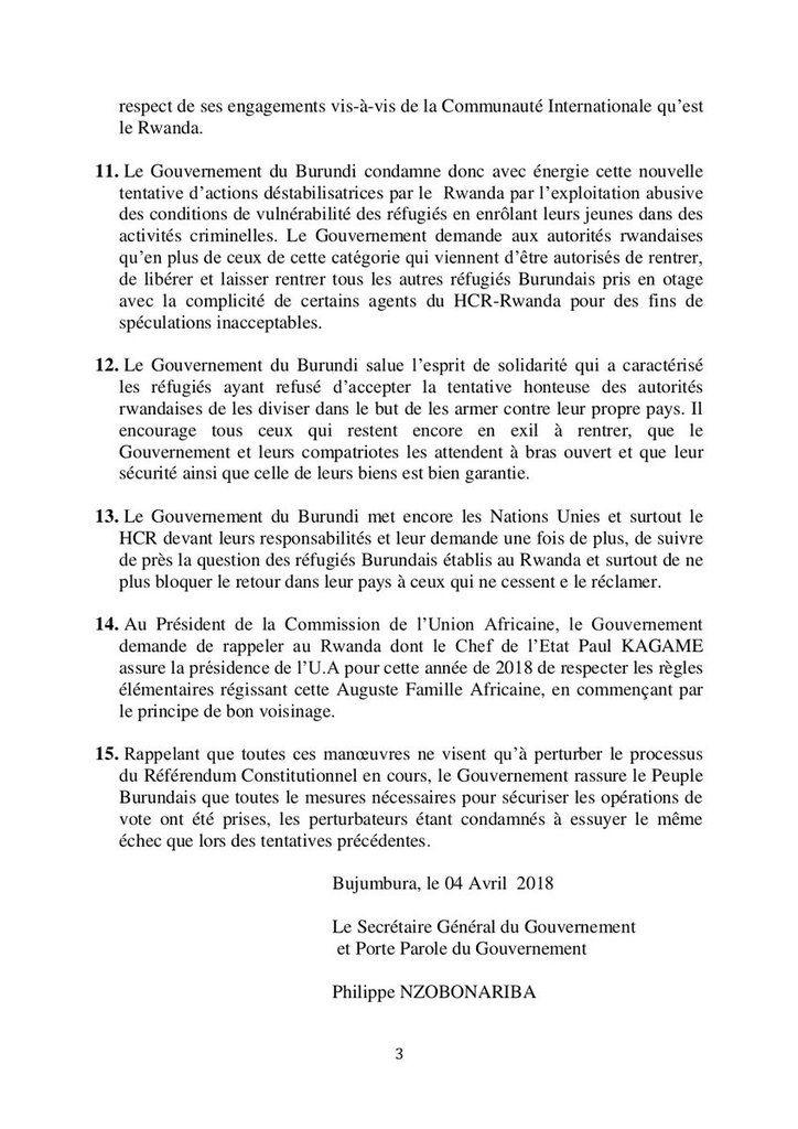Réaction du gouvernement après le retour forcé des réfugiés par le Rwanda (communiqué)
