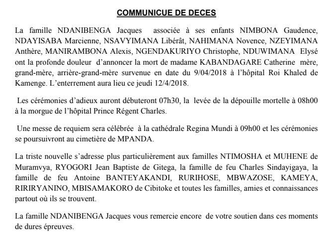 Décès de Mme KABANDAGARE Catherine (communiqué de la famille NDANIBENGA Jacques)