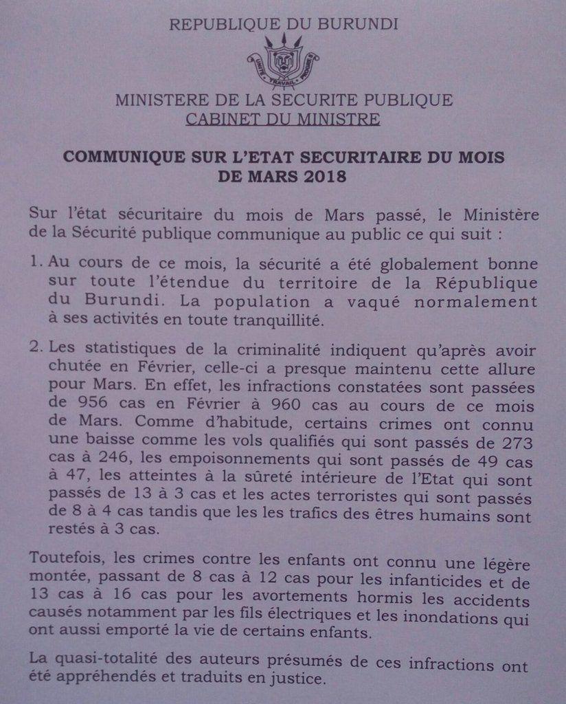 État sécuritaire du mois de mars 2018 (communiqué)