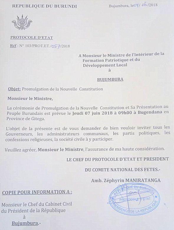 La nouvelle constitution sera promulguée ce jeudi 7 juin 2018 à Bugendana