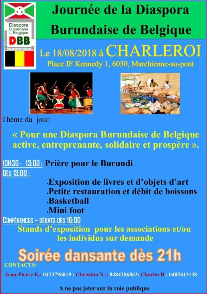 Journée de la diaspora burundaise à Charleroi (affiche - invitation de la DBB)