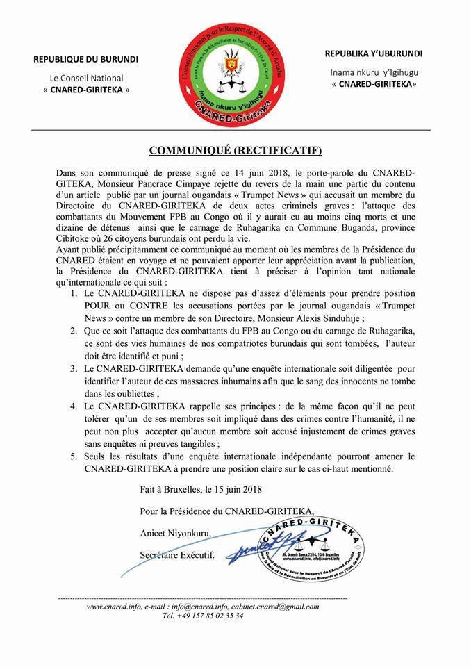 Le CNARED refuse de soutenir SINDUHIJE face aux accusations en rapport avec le carnage de Ruhagarika