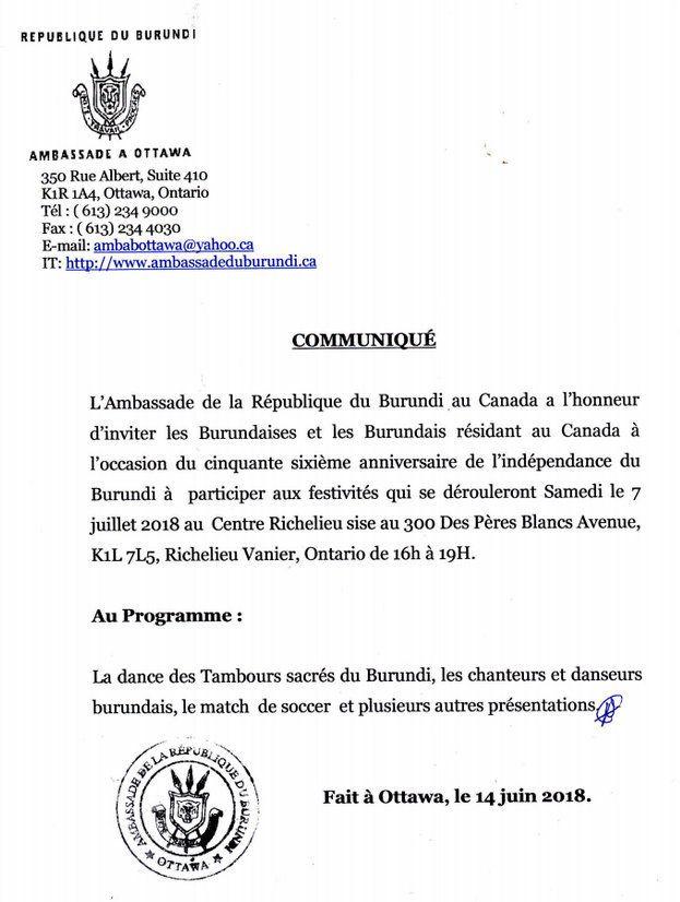 Les burundais du Canada invités aux festivités du 56ème anniversaire de l'indépendance (invitation de l'ambassade)