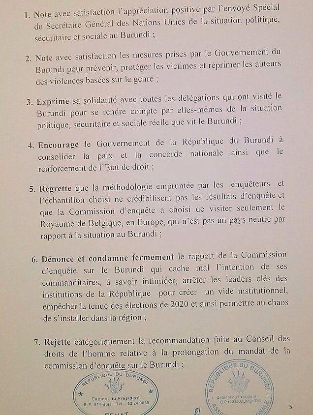 Déclaration du Parlement réuni en congres pour analyser le rapport sur le Burundi