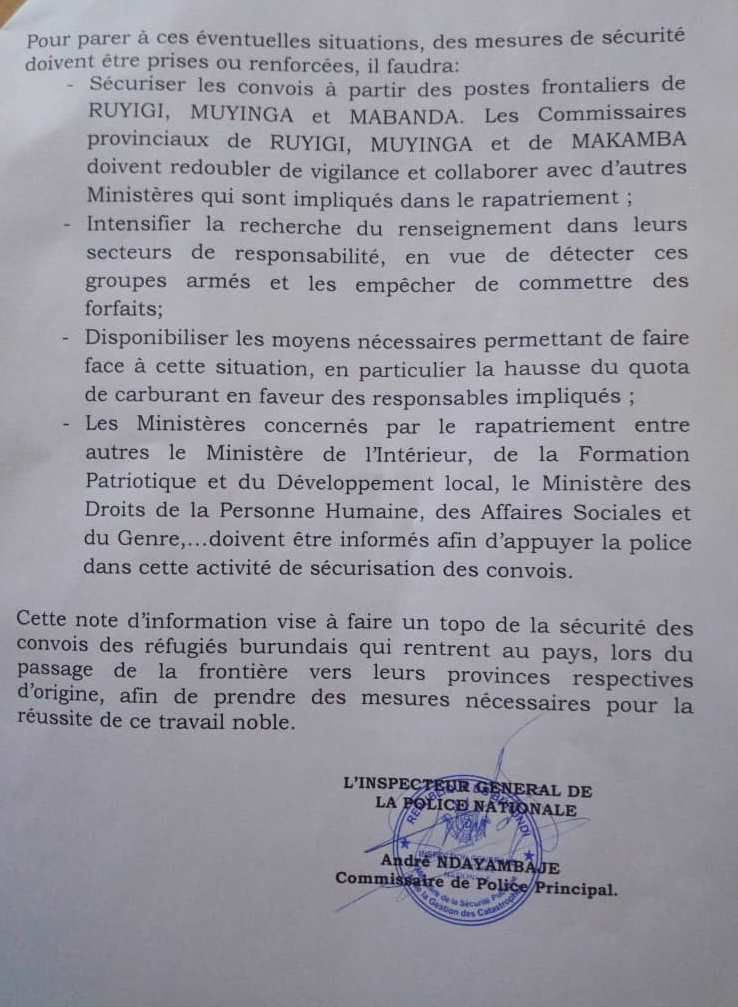 Des groupes armés prévoient d'attaquer les convois des réfugiés qui retournent au Burundi