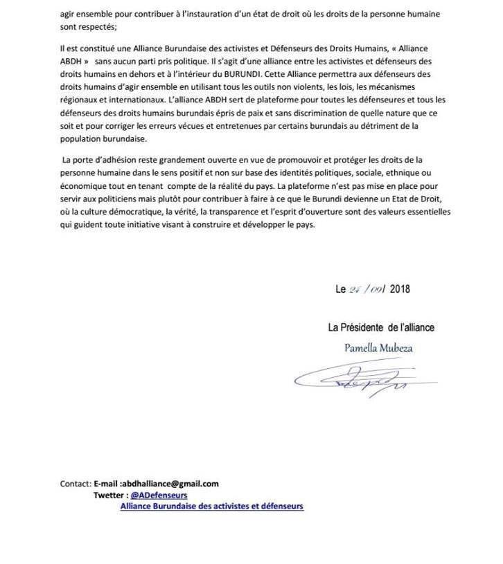 """Création d'une """"Alliance Burundaise des Activistes et Défenseurs des Droits Humains"""