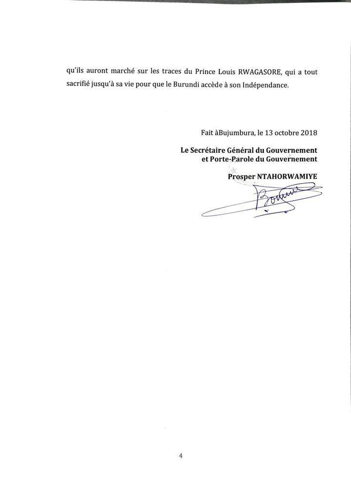 Une commission technique ad hoc est envisagée pour enquêter sur l'assassinat du Prince Louis RWAGASORE (communiqué du gouvernement)