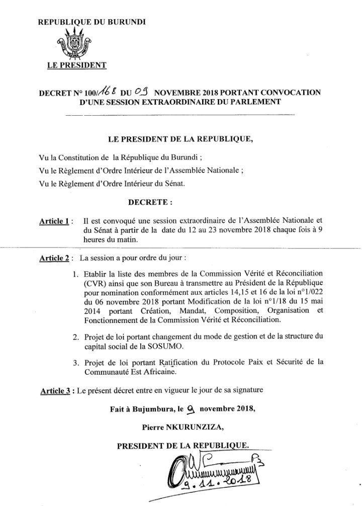 Décret n°100/0168 du 09 novembre 2018 portant Convocation d'une Session Extraordinaire du Parlement