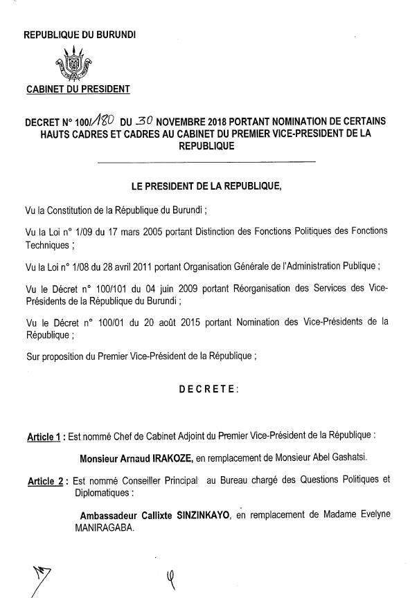 Décret n°100/0180 du 30 novembre 2018 portant nomination de certains hauts cadres et cadres au Cabinet du Premier VP de la République